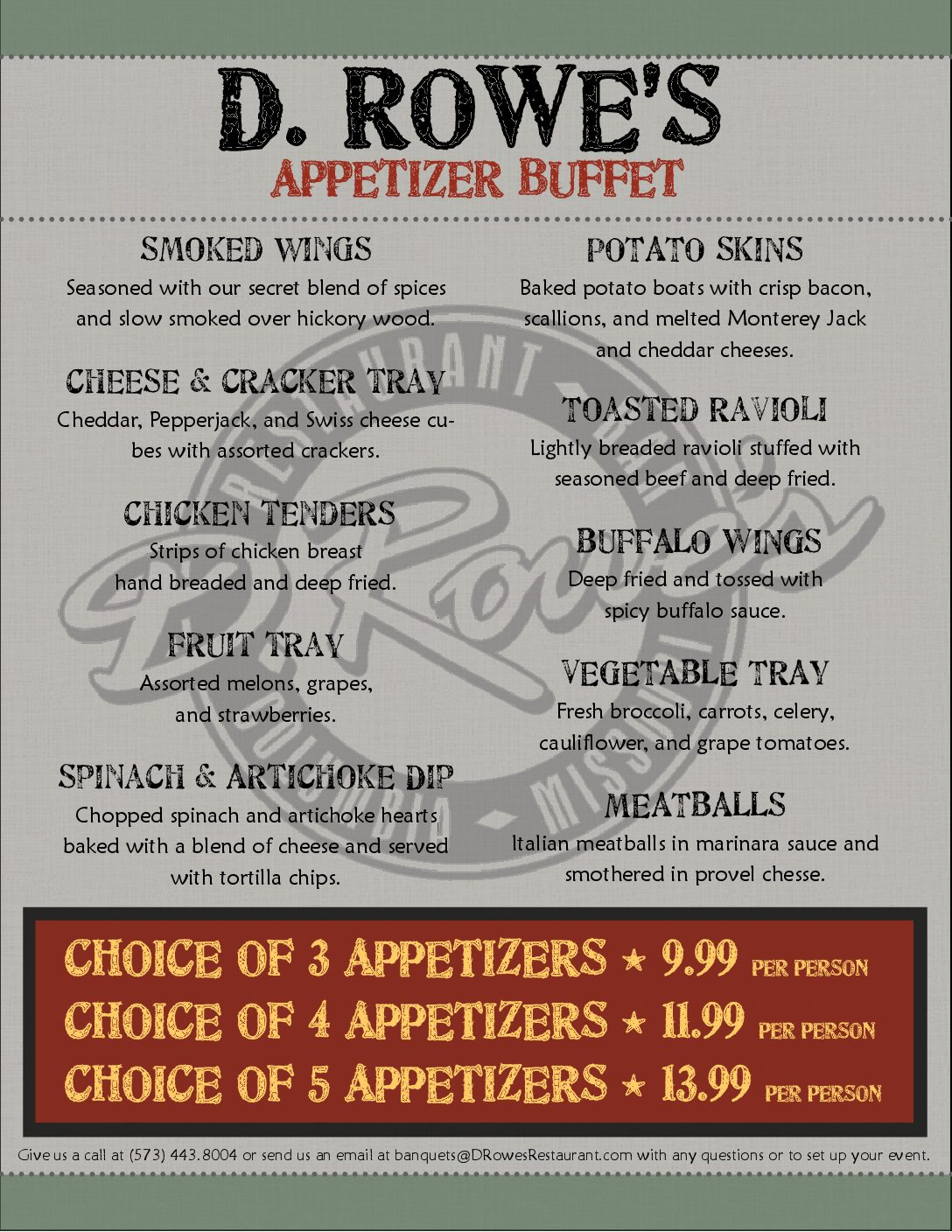 Appetizer Buffet menu