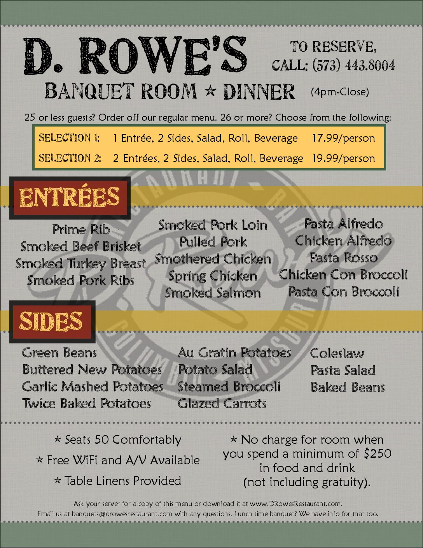 Dinner Banquet menu