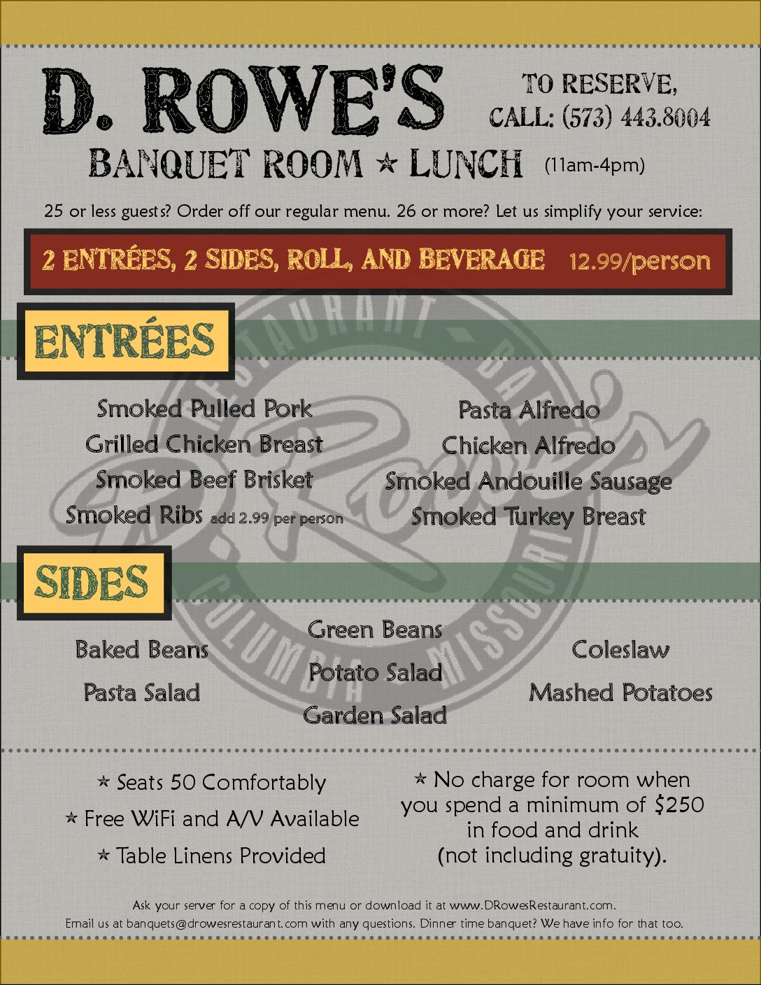 Lunch Banquet menu